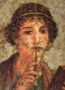 Detail of the portrait of a young woman (so-called Sappho) with writing pen and wax tablets